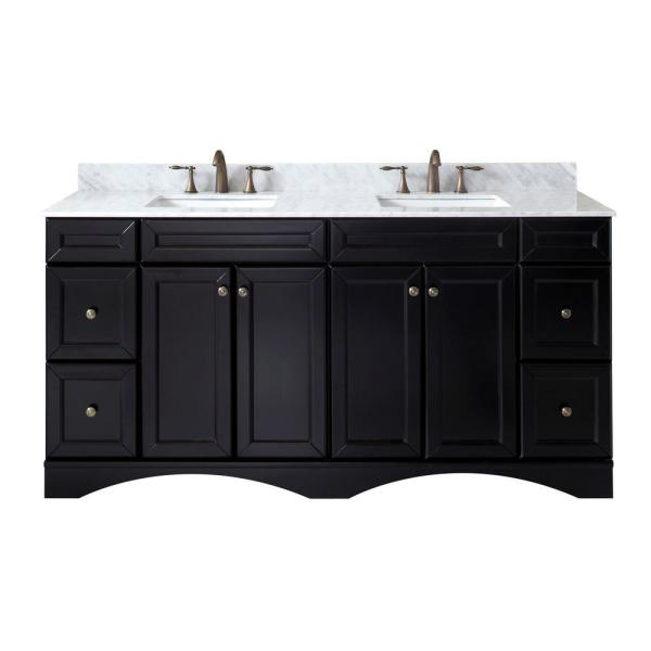 Talisa 72 in. W Bath Vanity in Espresso with Marble Vanity Top in White with Square Basin