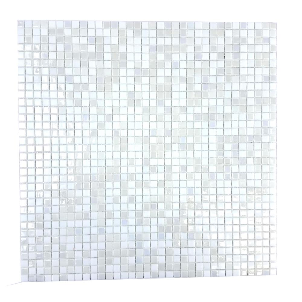 Abolos Gray Mosaic 0 25 In X Iridescent Gl Mesh Mounted Decorative Bathroom Wall And Floor Tile 98 Sq Ft