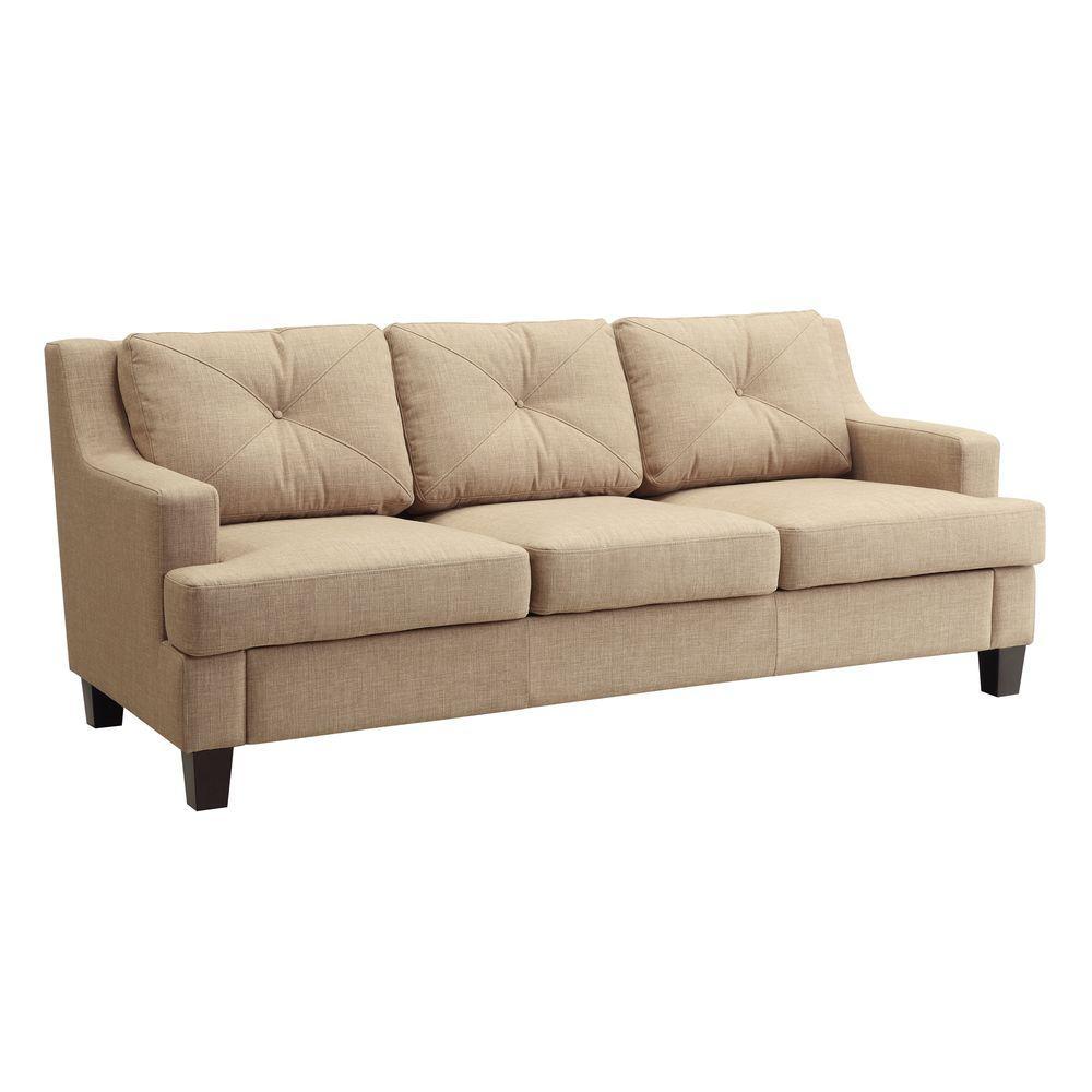 HomeSullivan Emerson Tan Linen Sofa-40E502S-LBLSOFA