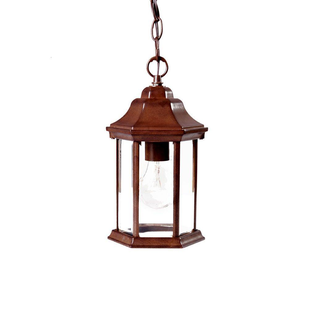 Madison Collection 1-Light Burled Walnut Outdoor Hanging Lantern