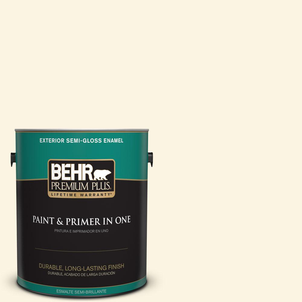 BEHR Premium Plus 1-gal. #350E-1 Moonlight White Semi-Gloss Enamel Exterior Paint