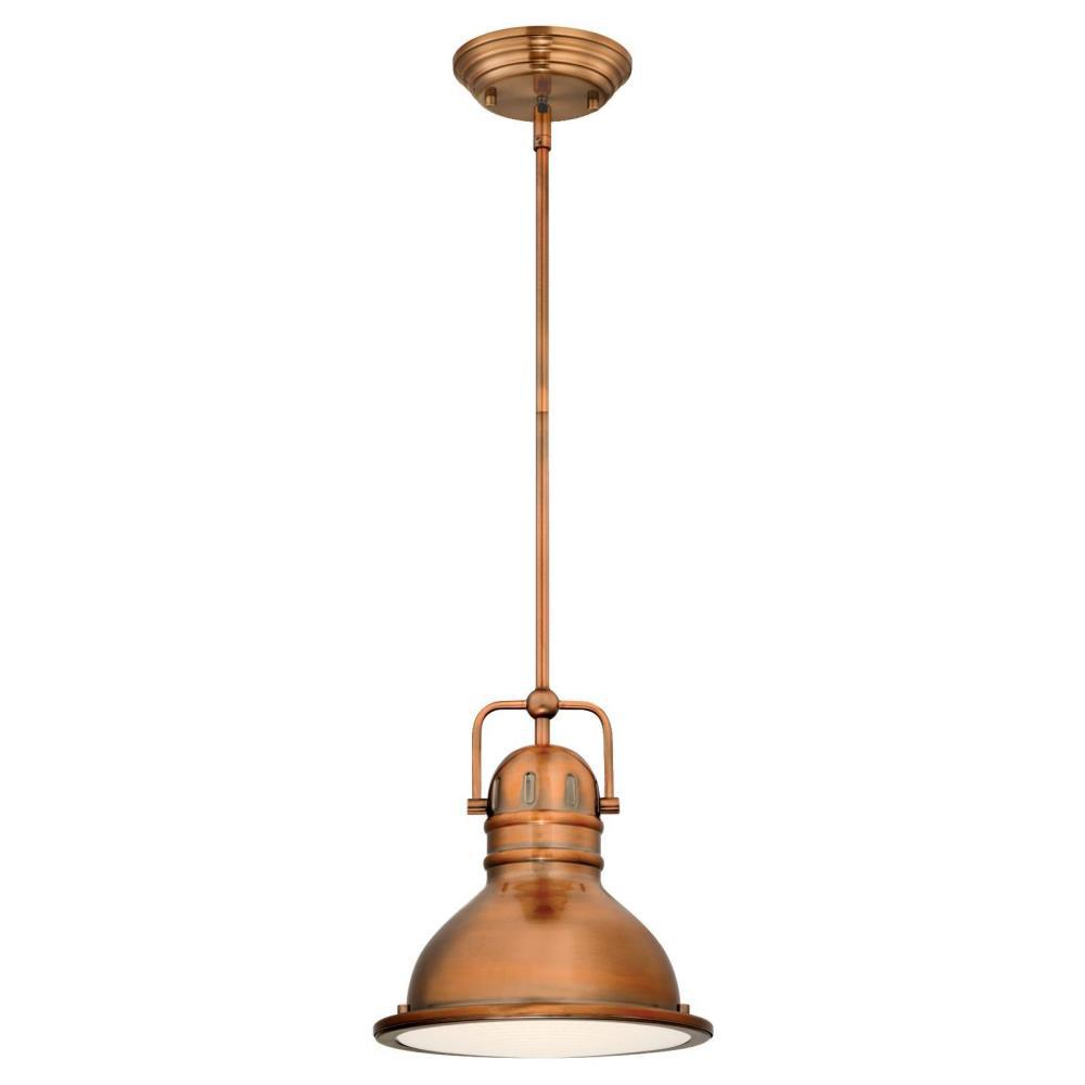 copper mini pendant light. Westinghouse Boswell 1-Light Washed Copper LED Mini Pendant Light The Home Depot