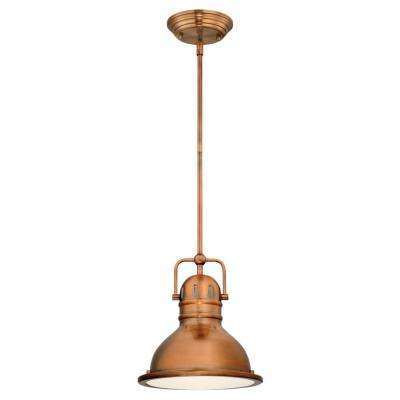 Boswell 1-Light Washed Copper Mini Pendant with LED Bulb