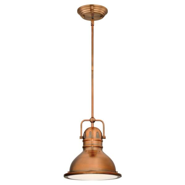 Boswell 1-Light Washed Copper LED Mini Pendant with Frosted Prismatic Acrylic Lens