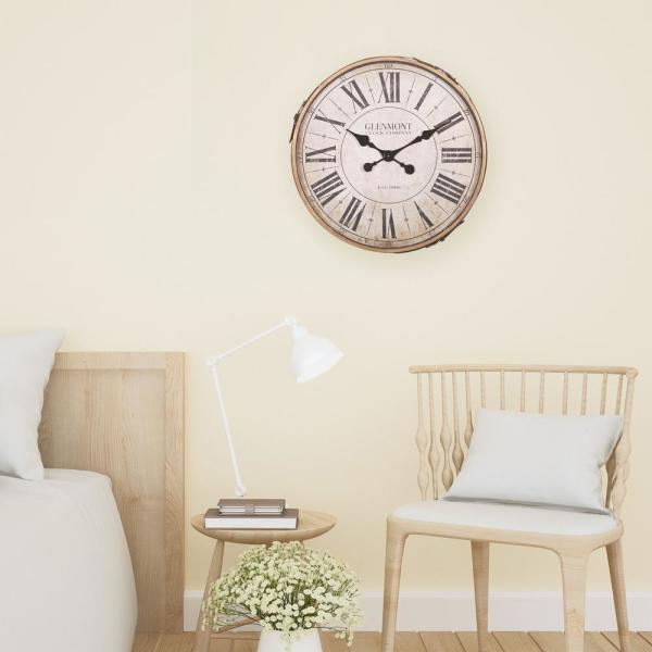 22 in. Glenmont Roman Metal Numeral Wall Clock with Leather Strap and Buckle