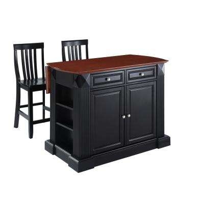 Coventry Black Drop Leaf Kitchen Cart with School House Stools
