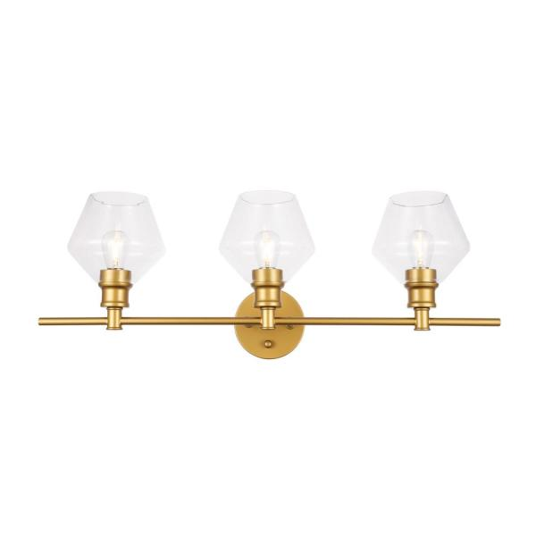 Timeless Home Grant 28.1 in. W x 10.2 in. H 3-Light Brass and Clear Glass Wall Sconce