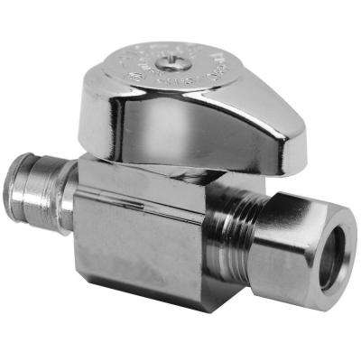 1/2 in. Nominal Cold Expansion PEX Barb Inlet x 3/8 in. O.D. Compression Outlet Brass 1/4-Turn Straight Valve (5-Pack)
