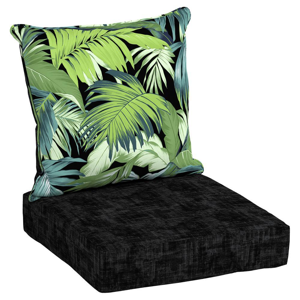 Beau Hampton Bay 24 X 24 Outdoor Lounge Chair Cushion In Olefin Black Tropicalia