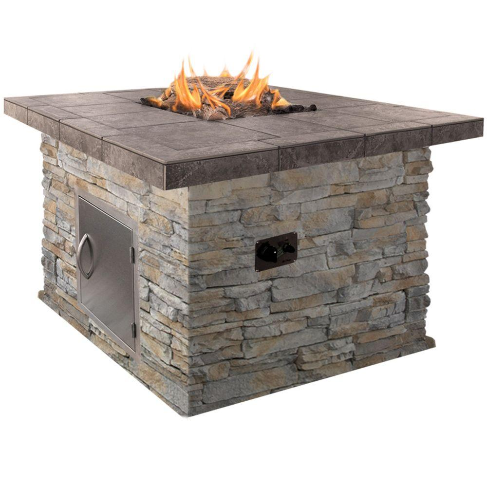Buy Propane Fire Pit Part - 26: Natural Stone Propane Gas Fire Pit In Gray With Log Set