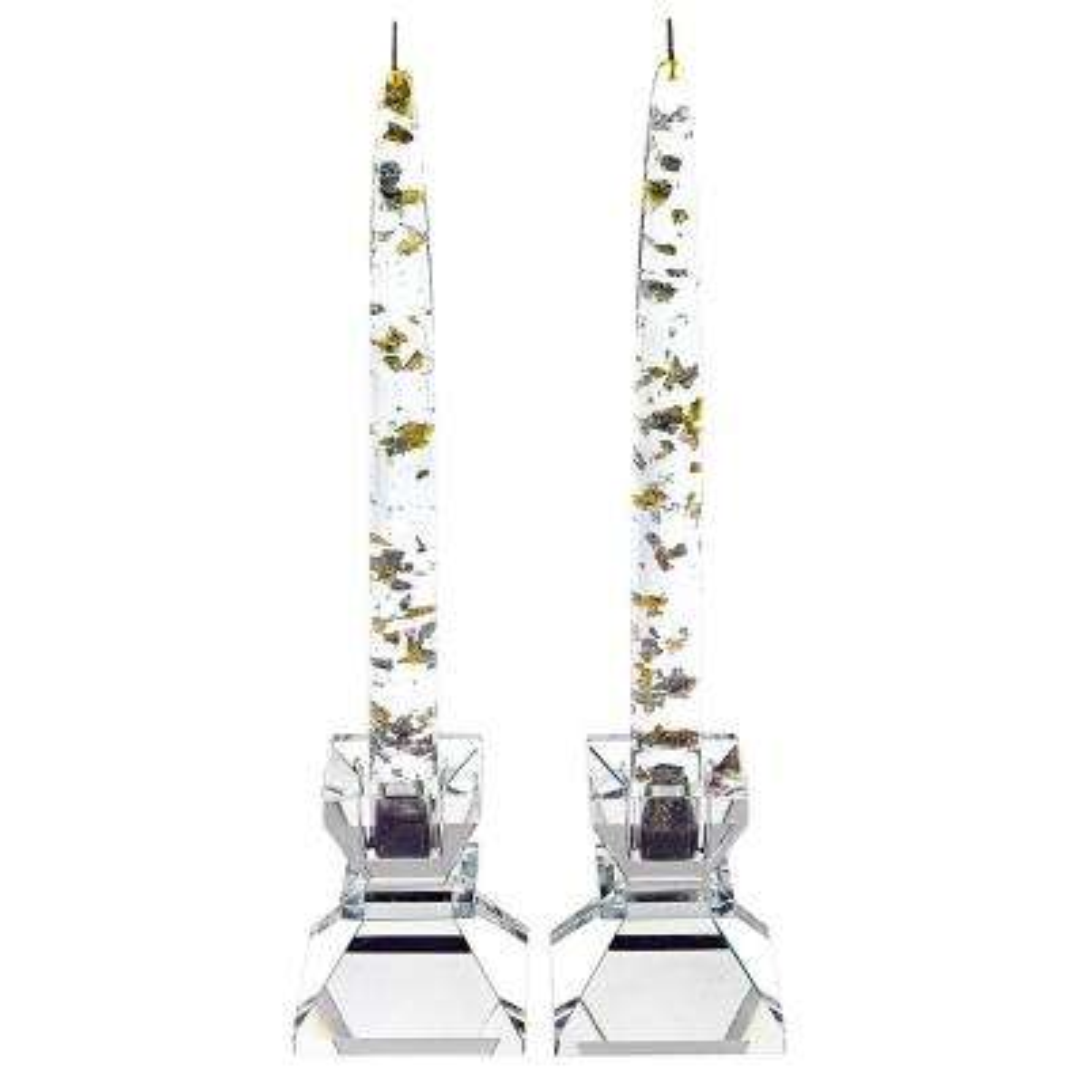 Silver and Gold Fleck Acrylic Decorative Non Lighting Candle (1-Dozen)