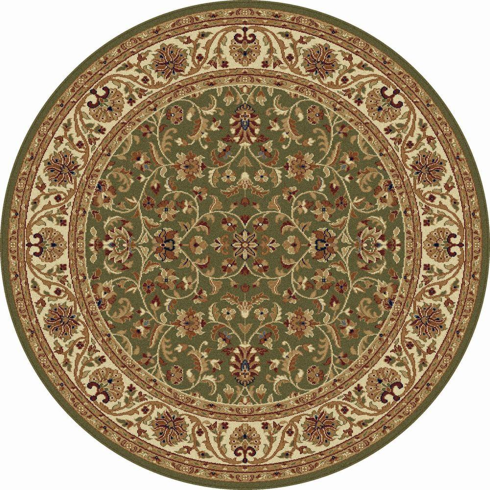 Tayse Rugs Sensation Green 7 ft. 10 in. Round Transitional Area Rug