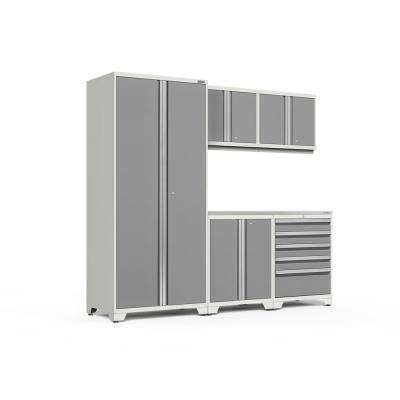 Pro Series 92 in. W x 85.25 in. H x 24 in. D 18-Gauge Welded Steel Garage Cabinet Set in Platinum (6-Piece)
