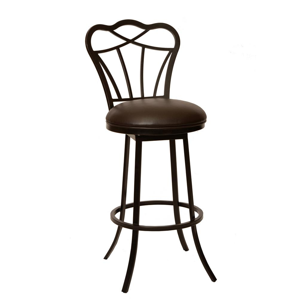 Armen Living Galvin 30 In. Coffee Faux Leather And Auburn Bay Finish  Transitional Barstool