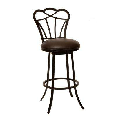 Galvin 30 in. Coffee Faux Leather and Auburn Bay Finish Transitional Barstool