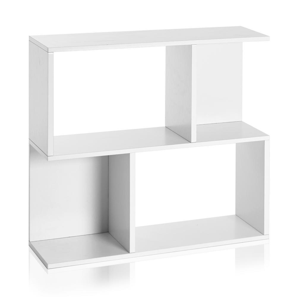 Soho 2 Shelf 11.2 x 32.1 x 30.2 zBoard  Bookcase, Side Table, Storage Shelf in Pearl White