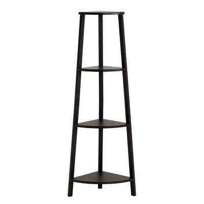 Columbia 13.82 in. W Corner Shelf in Black and Brown Finish