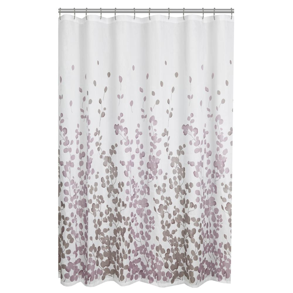 Maytex 70 in. x 72 in. Sylvia Leaves Printed Faux Silk Fabric Shower Curtain