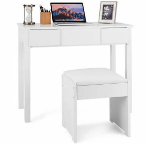 Costway 2-Piece White Vanity Dressing Table Set Mirrored ...