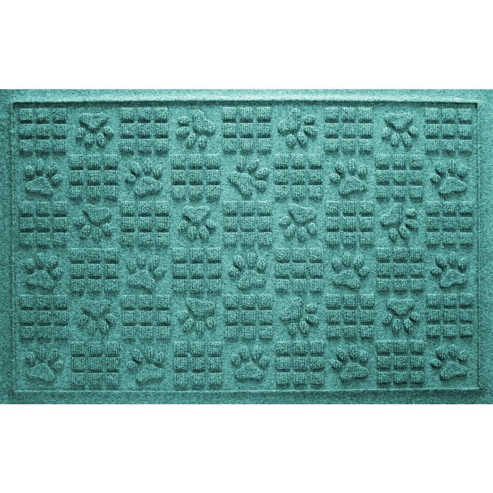 Aquamarine 24 in. x 36 in. Dog Paw Squares Pet Mat