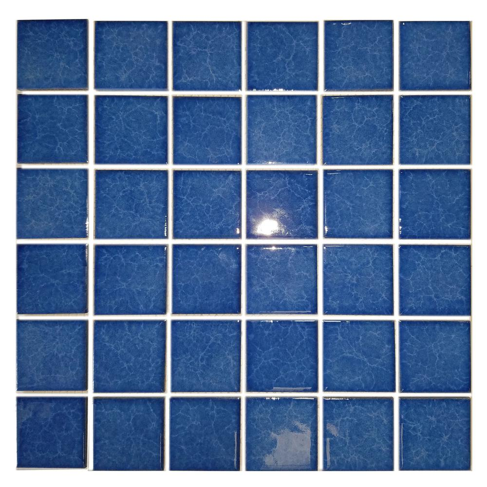 ABOLOS Monet Blue Pool Rated Mosaic 2 in. x 2 in. Glossy Porcelain Wall and Pool Tile (22 sq. ft./case)