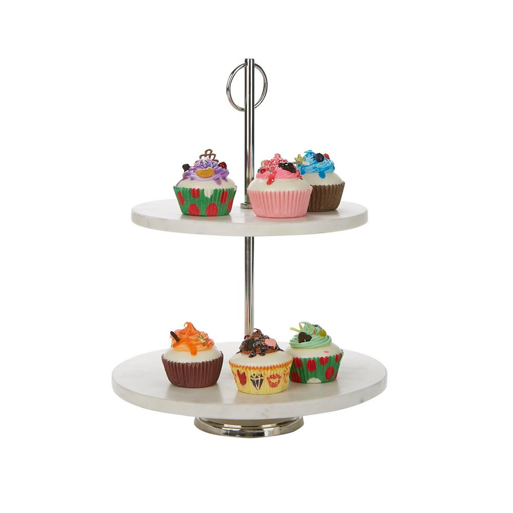 Mind Reader White 2 Tier Marble Pastry Stand Party Pastry Display Cupcake Stand Holder Tiered Serving Dessert Display Tray