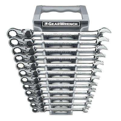 Metric Locking Flex Ratcheting Wrench Set (12-Piece)
