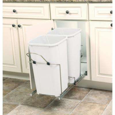11 in. x 22 in. x 18.75 in. 27 Qt. In-Cabinet Double Soft-Close Bottom-Mount Pull-Out Trash Can