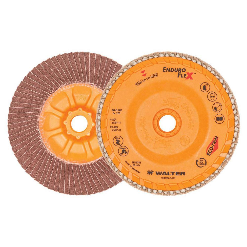 ENDURO-FLEX 4.5 in. x 5/8-11 in. Arbor GR120 The Longest Life Flap Disc (10-Pack)