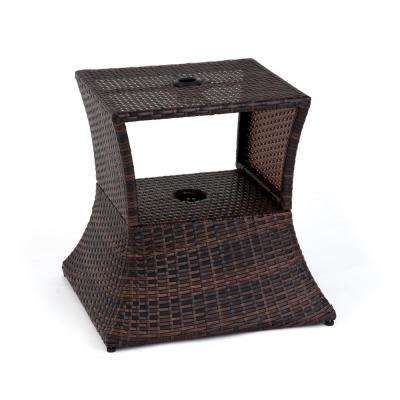 17 in. Square PE Rattan Patio Umbrella Stand & Side Table in Brown