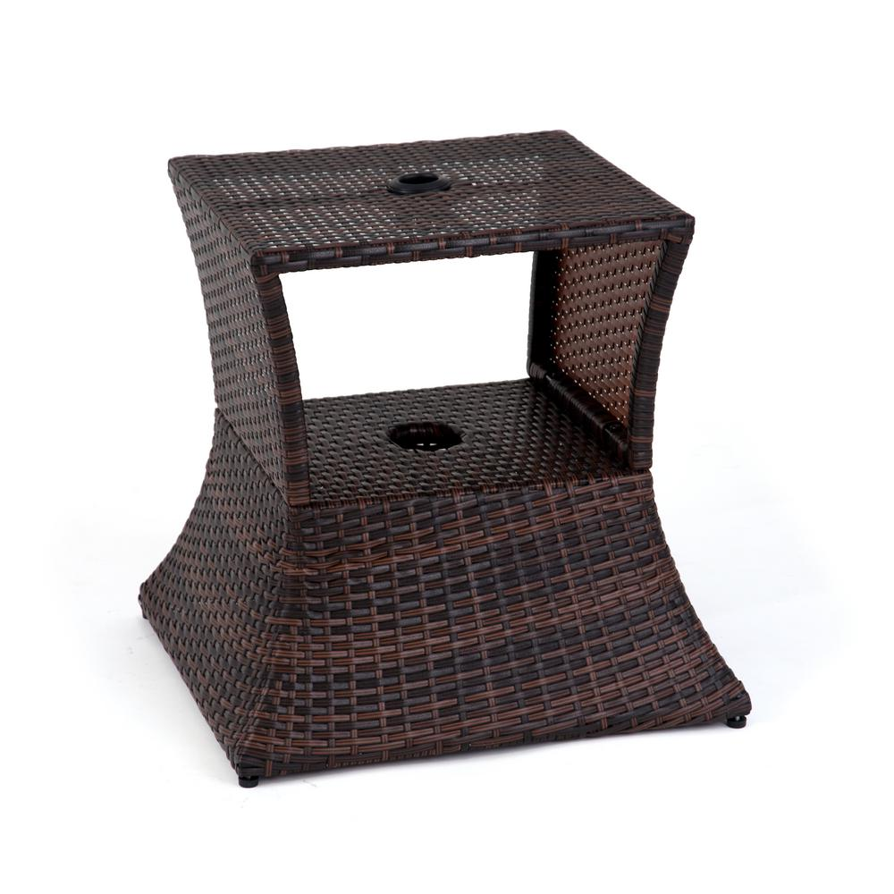 Square Pe Rattan Patio Umbrella Stand Side Table In Brown