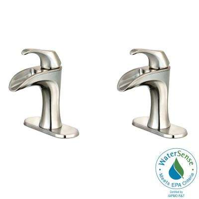 Brea 4 in. Centerset Single-Handle Bathroom Faucet in Brushed Nickel (2-Pack Combo)