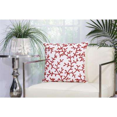 Beaded Seaweeds 18 in. x 18 in. Red and White Indoor and Outdoor Pillow