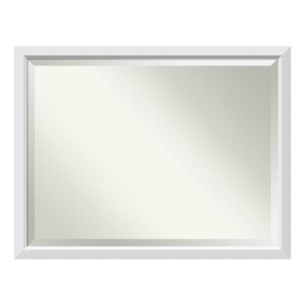 Medium Rectangle Satin White Contemporary Mirror (34 in. H x 44 in. W)