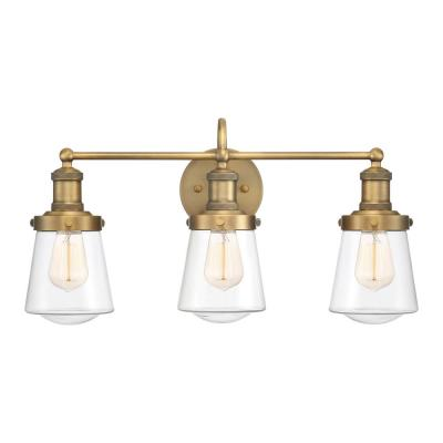 Taylor 3-Light Old Satin Brass Vanity Light