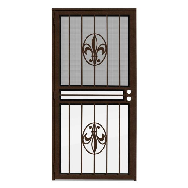 32 in. x 80 in. Fleur de Lis Copperclad Recessed Mount All Season Security Door with Insect Screen and Glass Inserts