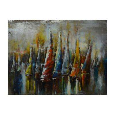 Catamaran's Colors Multi-Colored Metal Wall Art