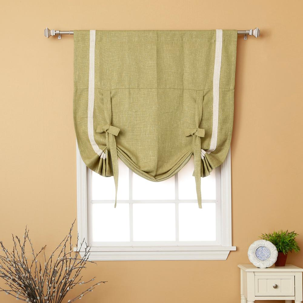 L Sage Textured Faux Linen Bordered Tie Up Curtain Panel
