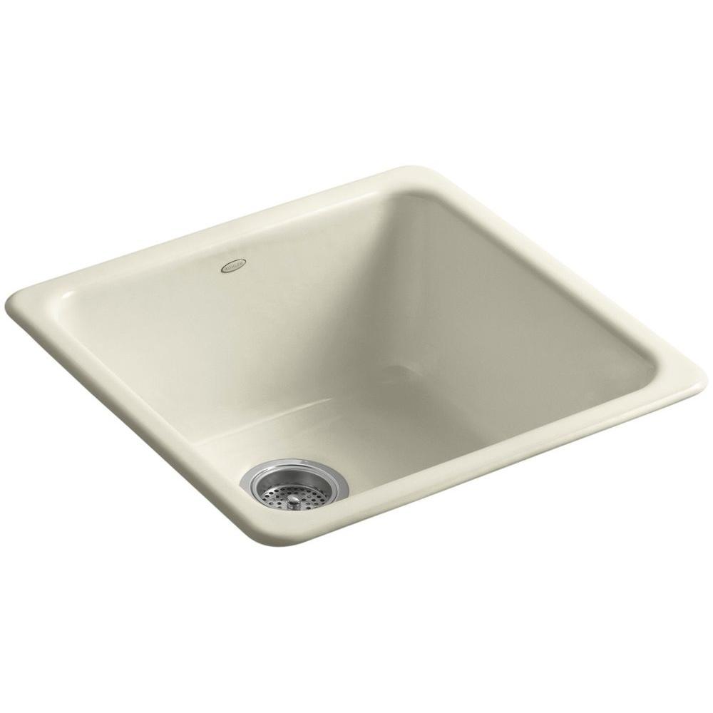 Dual Mount Cast-Iron 21 in. Single Basin Kitchen Sink in Cane Sugar