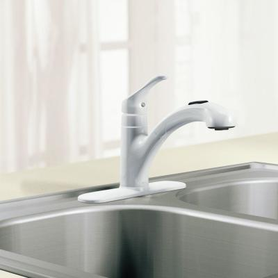 Renzo Single-Handle Pull-Out Sprayer Kitchen Faucet in Glacier