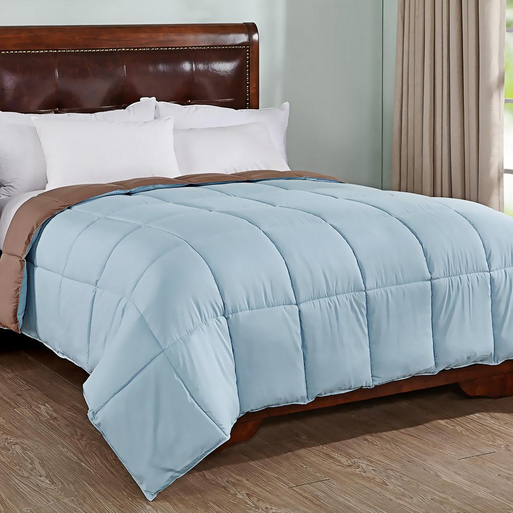 All Season Blue/Brown Full/Queen Reversible Down Alternative Comforter