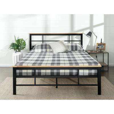 Urban Metal and Wood Black Full Platform Bed Frame