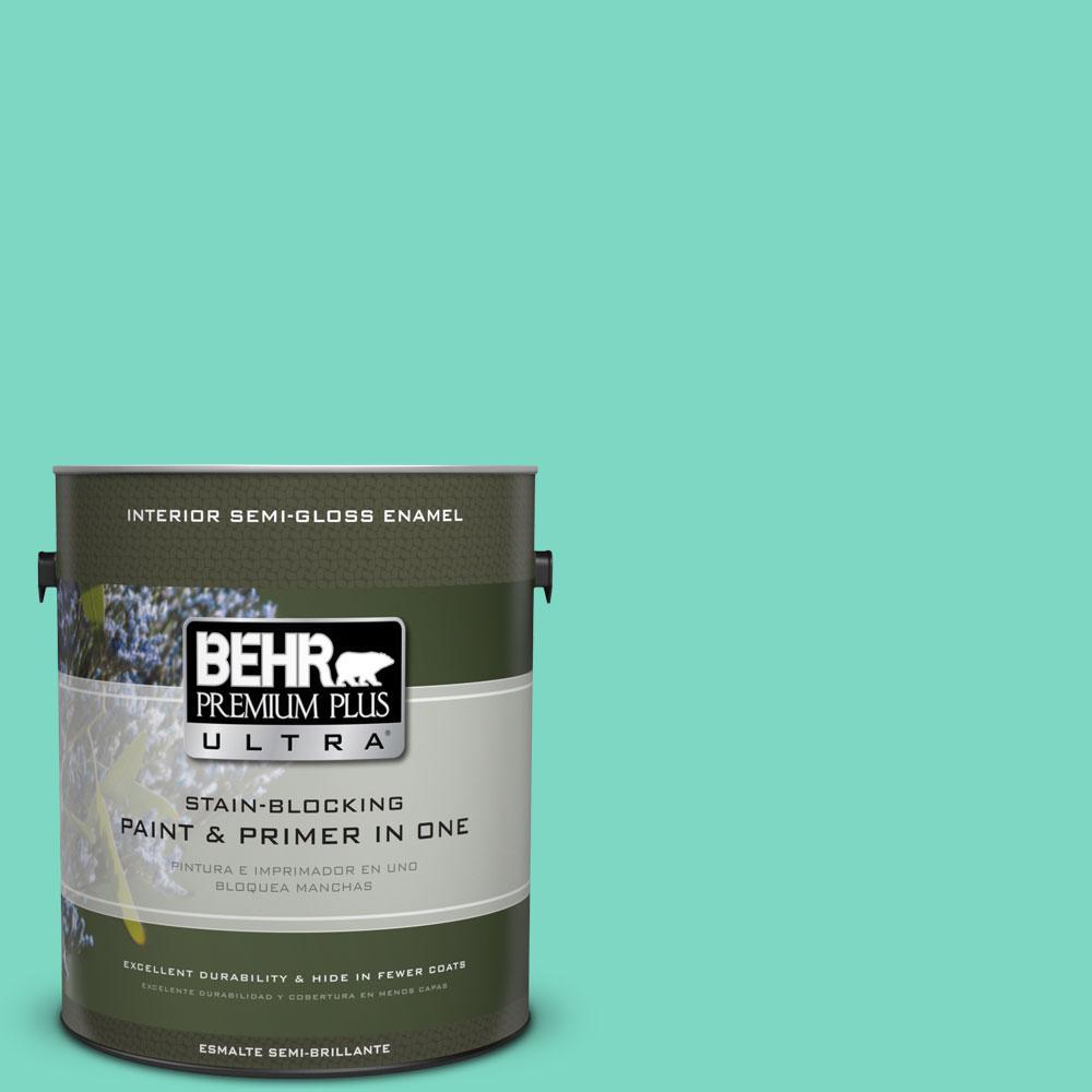 BEHR Premium Plus Ultra 1-gal. #480A-3 Mint Majesty Semi-Gloss Enamel Interior Paint