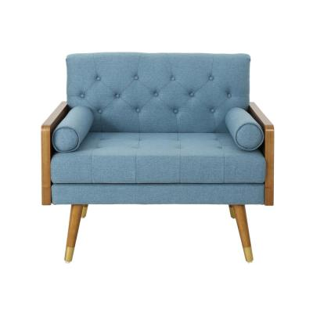 Frankie Mid-Century Modern Tufted Blue Fabric Club Chair