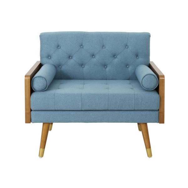 Noble House Frankie Mid-Century Modern Tufted Blue Fabric Club Chair 305749