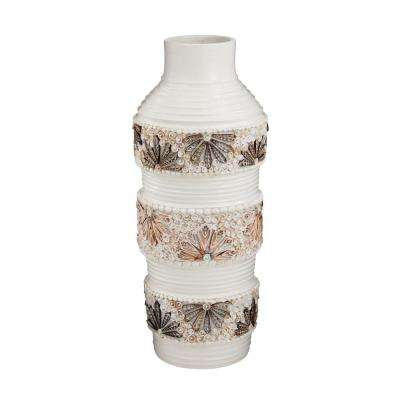 28 in. Terracotta and Shell Decorative Vase in White