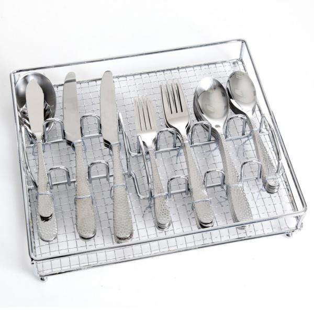 Hammered 46-Piece Stainless Steel Flatware Set