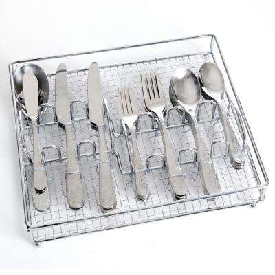 Hammered 46-Piece Stainless Steel Flatware Set