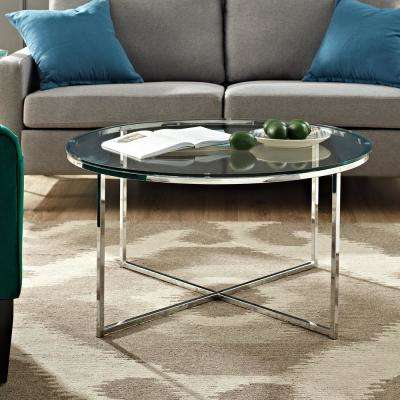 36 in. Glass/Chrome Mid Century Modern Coffee Table with X-Base