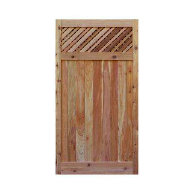 3 ft. x 6 ft. Western Red Cedar Flat Top Supreme Lattice Fence Gate